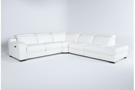 Hana White Leather 4 Piece Pwr Reclining Sectional With Right Arm Facing Chaise - Main