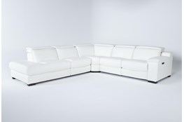 "Hana White Leather 4 Piece 113"" Power Reclining Sectional With Left Arm Facing Chaise"