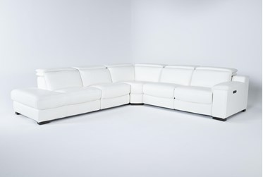"""Hana White Leather 4 Piece 113"""" Power Reclining Sectional With Left Arm Facing Chaise"""