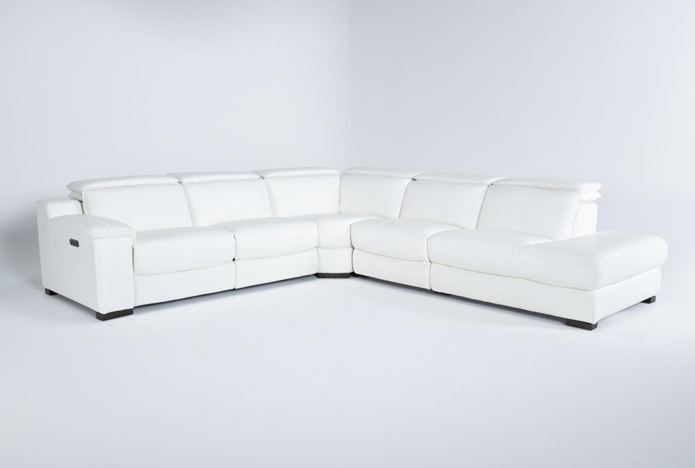 Hana White Leather 4 Piece Power Reclining Sectional With 3 Power Recliners & Right Arm Facing Chaise