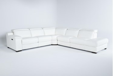 """Hana White Leather 4 Piece 113"""" Power Reclining Sectional With 3 Power Recliners & Right Arm Facing Chaise"""