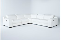 Hana White Leather 3 Piece Power Reclining Sectional