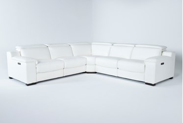 """Hana White Leather 3 Piece 113"""" Power Reclining Sectional"""