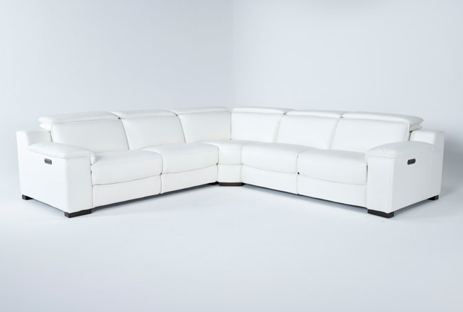 """Hana White Leather 3 Piece 113"""" Power Reclining Sectional - 360"""