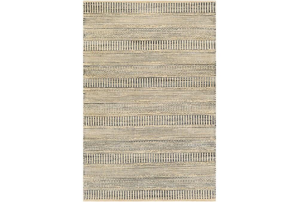 24X36 Rug-Jute Stripes Blue/Natural