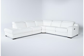 Hana White 4 Piece Power Reclining Sectional With 3 Power Recliners & Left Arm Facing Chaise