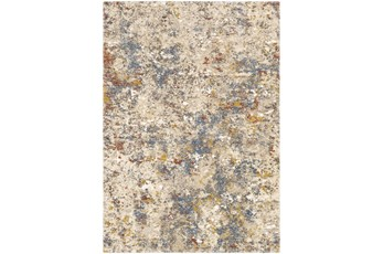 94X123 Rug-Abstract Blue/Metallic Gold