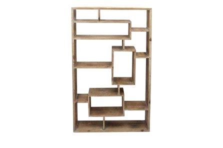 Brown Wooden Multi Level Wall Shelf - Main