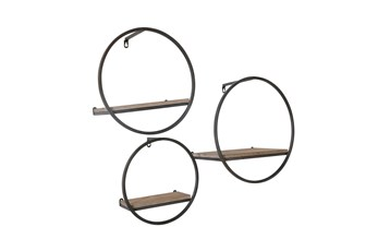 Wood/Metal Wall Shelves Set Of 3