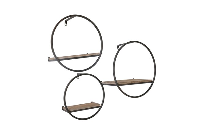Wood/Metal Wall Shelves Set Of 3 - 360