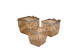 Bamboo Rope Baskets, Set Of 3