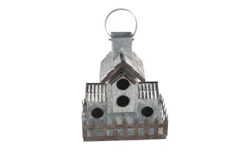 Farmhouse Silver Galvanized Metal Birdhouse
