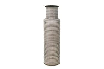 15 Inch Beige Ribbed Cylinder Vase