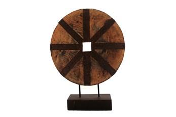 Wooden Disk On Base, Brown