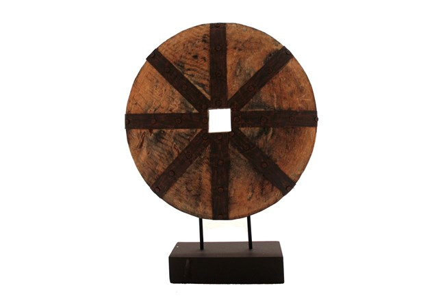 Wooden Disk On Base, Brown - 360