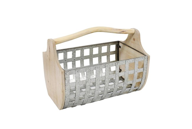 Tin Woven Basket With Wood Handles - 360
