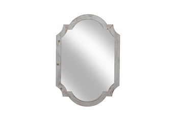 "Wood Frame Wall Mirror 44.5"", Ivory"
