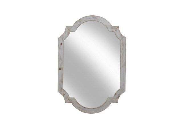 "Wood Frame Wall Mirror 44.5"", Ivory  - 360"