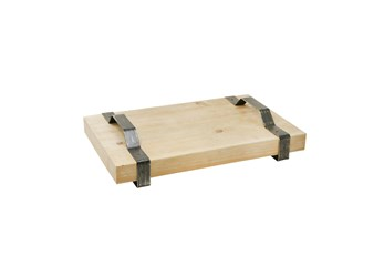 """Wood Tray With Metal Handles 18"""", Brown"""