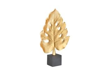 17 Inch Monstera Leaf Decoration  Polyresin  Gold