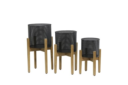 8/9/11 Inch Mesh Planter On Stand Set Of 3 - Main