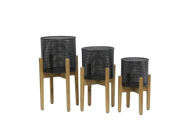 8/9/11 Inch Mesh Planter On Stand Set Of 3 - 360