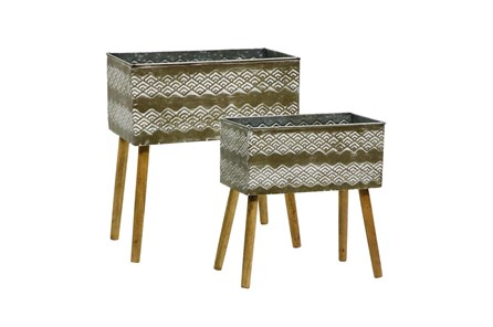 16/18 Inch Aztec Planter On Stand Set Of 2 - Main