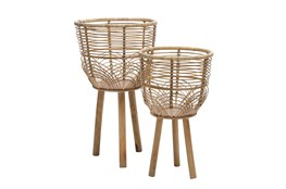 """Wicker Planters 10/12"""" Natural, Set Of 2"""