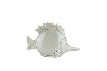 11 Inch Grey Ceramic Fish Decor