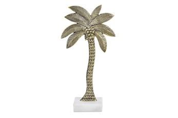 Gold Aluminum 21 Inch Palm Tree Sculpture