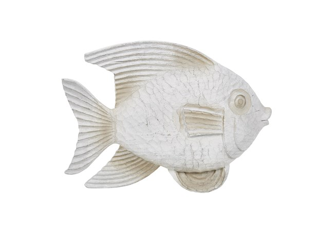White Wash Fish Figurine - 360