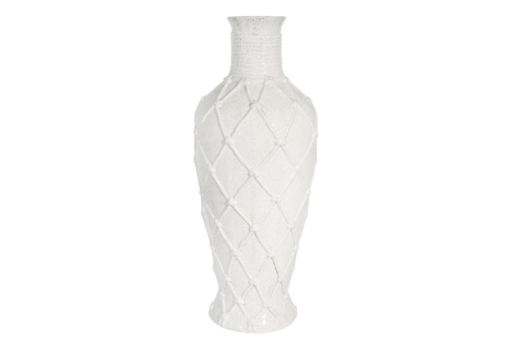 25 Inch White Ceramic Rope Design Vase