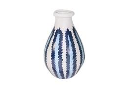 13 Inch Ceramic Blue/White Stripe Vase