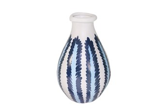 13 Inch Ceramic Blue/White Stripe Vase