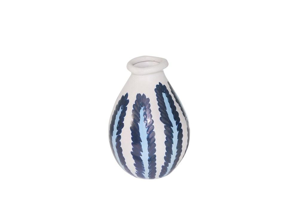 10 Inch Ceramic Blue/White Stripe Vase