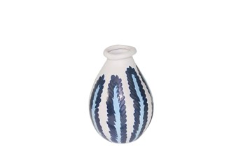 10 Inch Ceramic Blue/White Stripe Vase