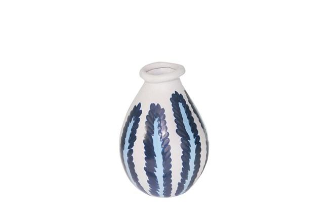 10 Inch Ceramic Blue/White Stripe Vase - 360