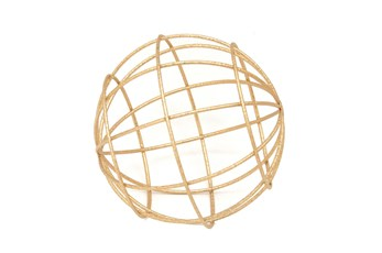 8 Inch Gold Metal Decorative Orb