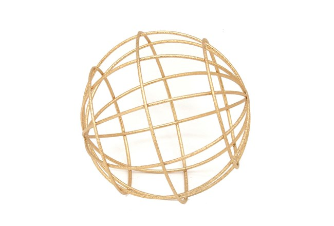 8 Inch Gold Metal Decorative Orb - 360