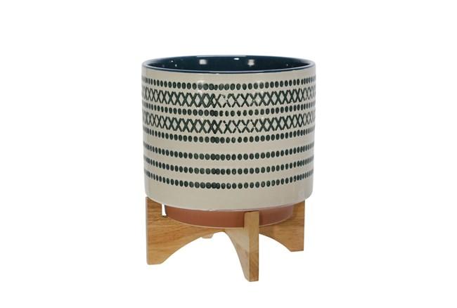 Blue/White Ceramic 10 Inch Planter On Stand - 360