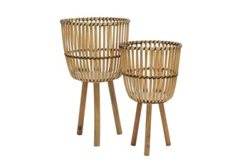 10 Inch/12 Inch Natural Wicker Footed Planters