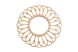 Wall Mirror 27 Inch Natural Wicker Looped