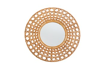 Wall Mirror 27 Inch Natural Wicker Tapnigi