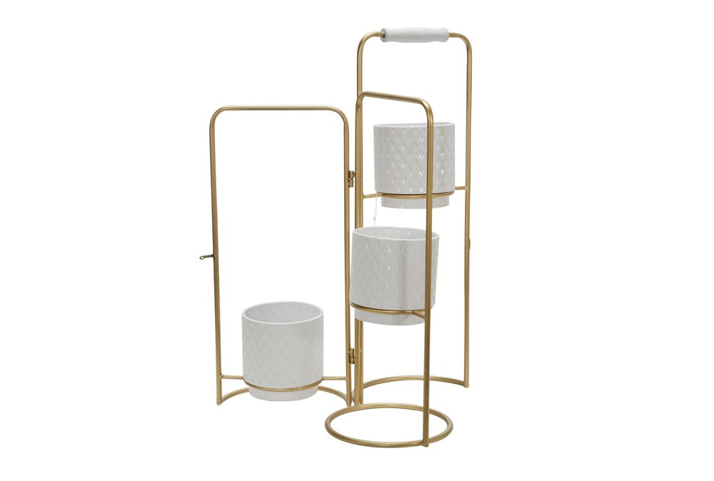 Gold 22 Inch 3-Tier Foldable Planters