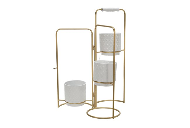 Gold 22 Inch 3-Tier Foldable Planters - 360
