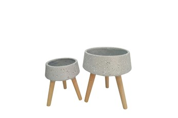 Outdoor 11 Inch/15 Inch Terrazzo Planter Set Of 2
