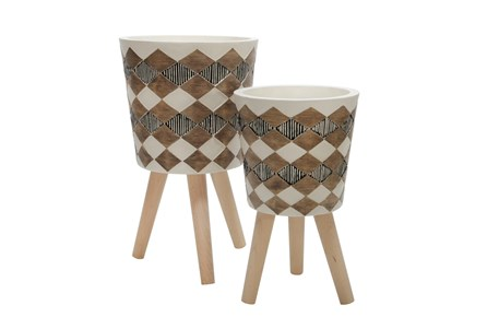 11 Inch/15 Inch Brown Tribal Planters  Set Of 2 - Main