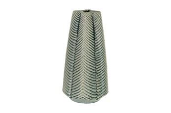 Green 16 Inch Ceramic Ribbed Vase