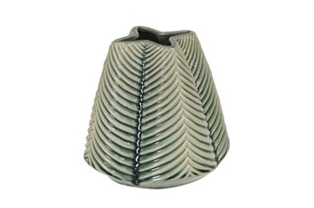 Green 8 Inch Ceramic Ribbed Vase