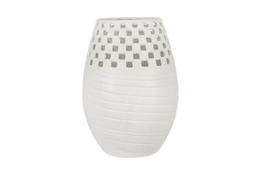 White 13.5 Inch Ceramic Cut-Out Vase
